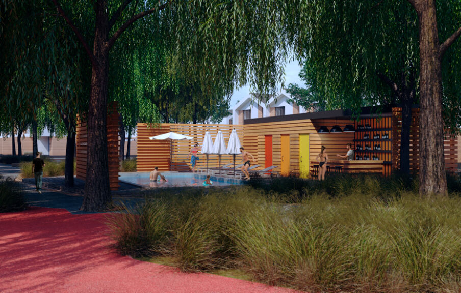 3d визуализация зоны отдыха с бассейном