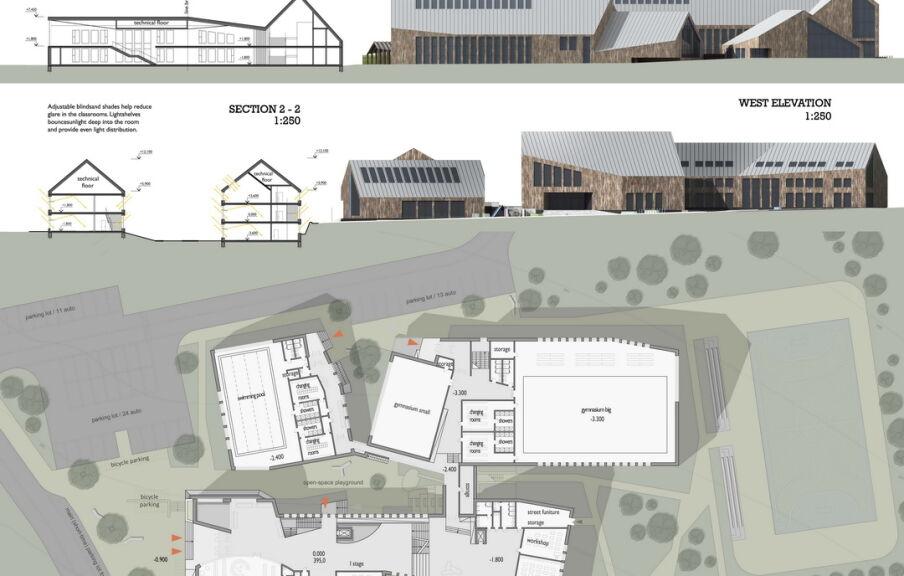 План фасадов частной школы