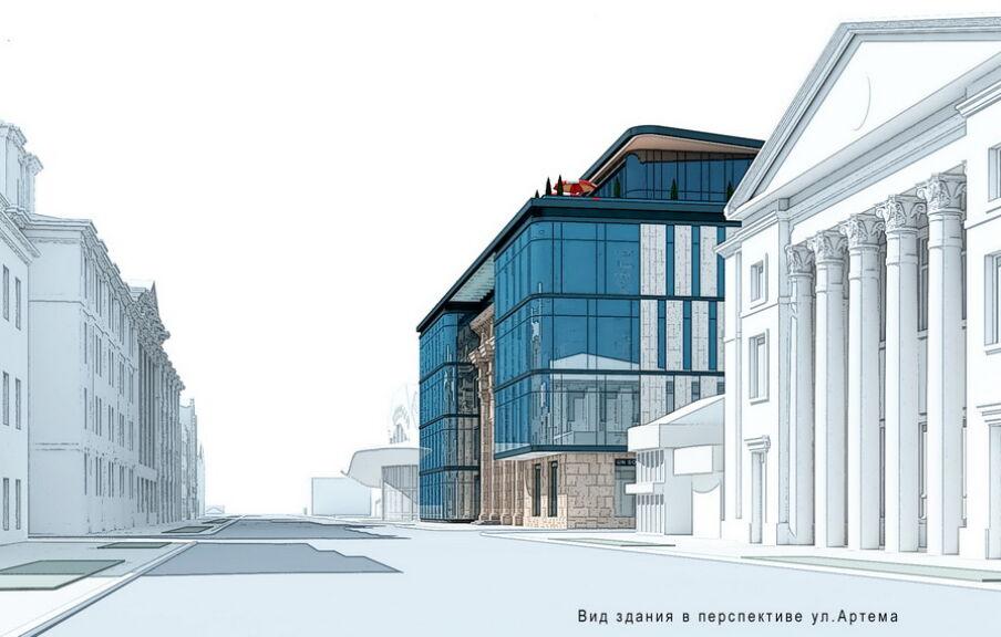 Вид здания в перспективе