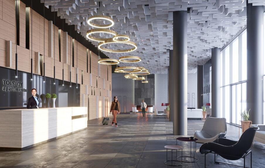 Дизайн интерьера холла в аппарт-отеле