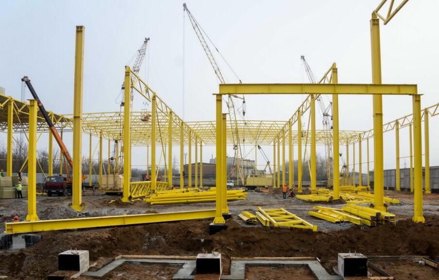 Монтаж металлических конструкций каркаса здания