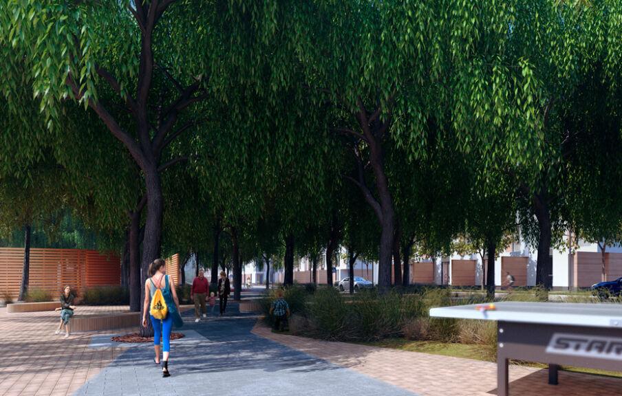 Визуализация парковой зоны в жилом квартале