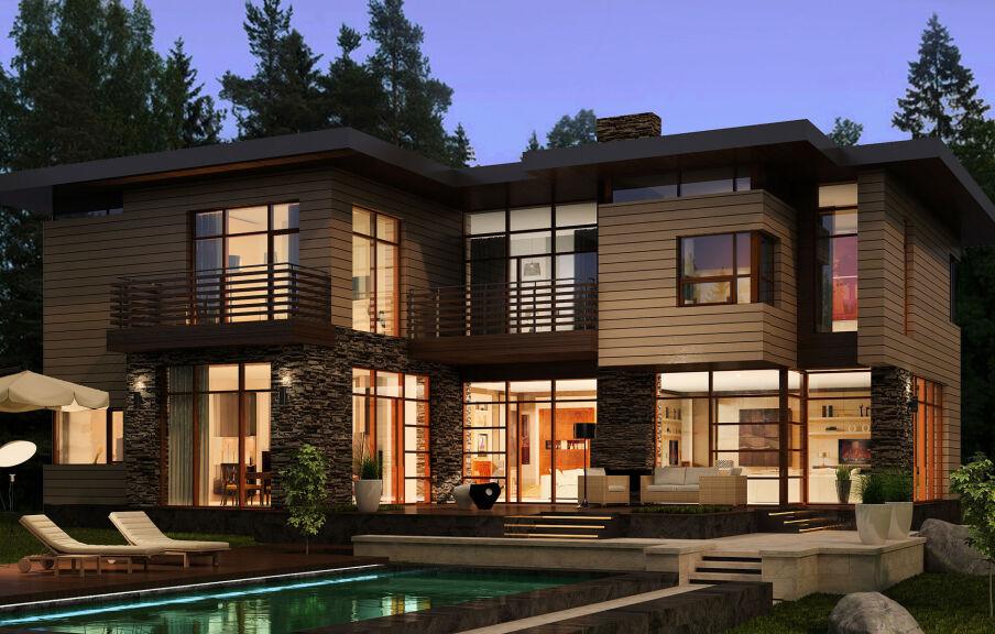 Проектирование загородного частного дома с бассейном